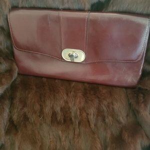 Vtg Oxblood Leather clutch